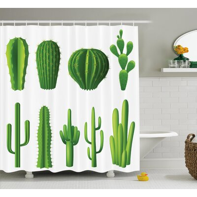 Dia Print Cartoon Like Image Hot Mexican Desert Plant Cactus Types With Spikes Image Shower Curtain Size: 69 W x 70 H