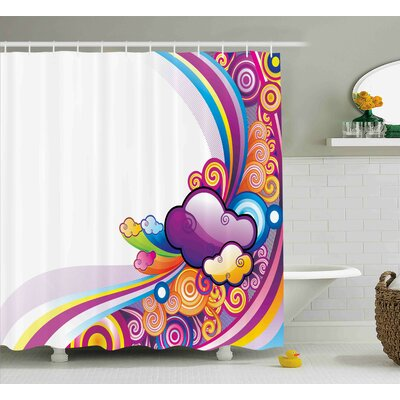 Elisa Cartoon Kids Nursery Room Decoration Rainbows Colored Clouds Lines Rounds Suns Print Image Shower Curtain Size: 69 W x 70 H