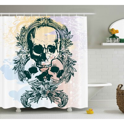 Skull Scary Deadly Rocker Furious Skeleton Head Trio With Frames From Leaves Image Shower Curtain Size: 69 W x 70 H