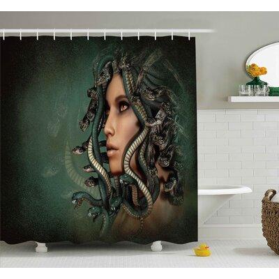 Olivia Mythological Spiritual Woman With Snakes on Her Head Sacred Occult Style Zen Design Shower Curtain Size: 69 W x 70 H