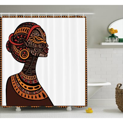 Haddou Pagan Exotic Beauty Woman Figure With Traditional Mask Totem Illustration Shower Curtain Size: 69 W x 70 H