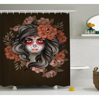 Yazmin Day of The Dead Spanish Woman With Festive Calavera Makeup Art and Flower Blooms Shower Curtain Size: 69 W x 70 H