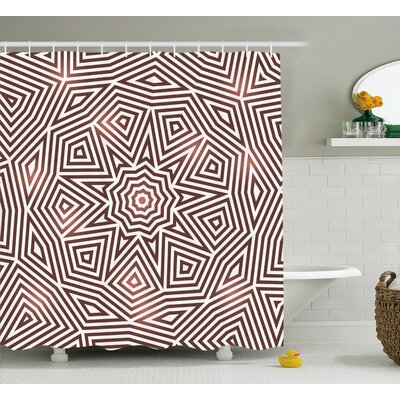 Karsten Radiant Celtic Baroque With Diagonal Triangular Geometric Shapes Boho Decor Shower Curtain Size: 69
