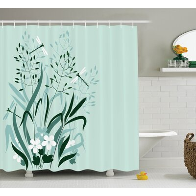 Wanda Country Wild Grass and Dragonflies Shower Curtain Size: 69 W x 75 H