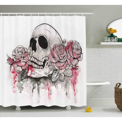 Vilma Day of The Dead Print of Skull Dead With Romantic Roses Celebration Day Shower Curtain Size: 69 W x 70 H