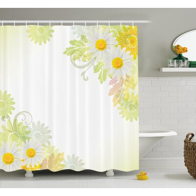 Contreras Daisies Abstract Indian Detail and Leaves With Sun Like Art Print Shower Curtain Size: 69 W x 70 H
