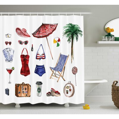 Carrie Girly Nostalgic Female Beach Fashion Object Solar Summer Hot Travel Palms Concept Picture Shower Curtain Size: 69 W x 75 H