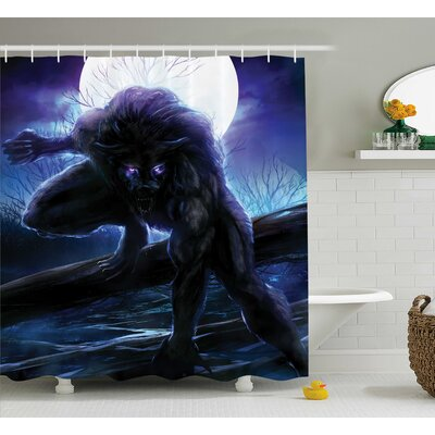Teri Fantasy World Surreal Werewolf Electric Eyes Moon Transformation Folkloric Decor Shower Curtain Size: 69 W x 70 H