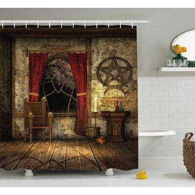 Pentagram Symbol Shower Curtain Size: 69 W x 70 H