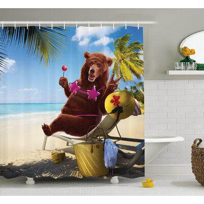 Fred Animal Happy Fancy Wild Hot Bear With Bikini Top on The Beach Sunbathing Artwork Shower Curtain Size: 69 W x 70 H
