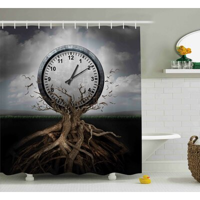 Coleen Vintage Clock Breaking Free From a Tree Trunk a Surrealistic Symbol For Strategy Shower Curtain Size: 69 W x 70 H