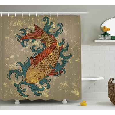 Oldenzaal Japanese Grunge Asian Style Oriental Cold Water Koi Carp Fish Aquatic Distressed Pattern Shower Curtain Size: 69 W x 70 H