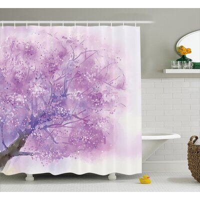 Alvarado Dreamy Tree Body View With Cloudy Details Love Valentines Motif Shower Curtain Size: 69 W x 70 H