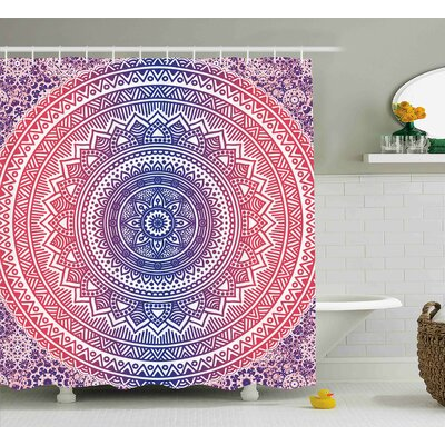 Lindsey Pink and Purple Ombre Mandala Design Ethnic Eastern Pattern Chakra Meditation Hippie Art Shower Curtain Size: 69 W x 84 H