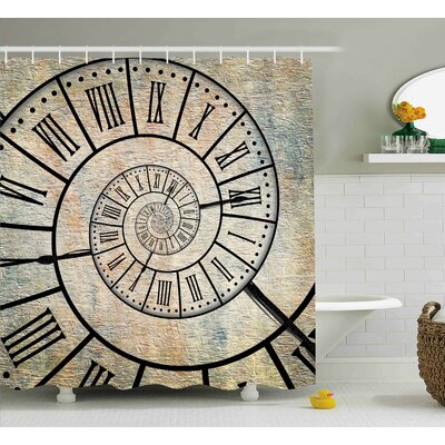 Corina Roman Digit Time Spiral on The Vintage Textured Background Antique Design Print Shower Curtain Size: 69 W x 70 H