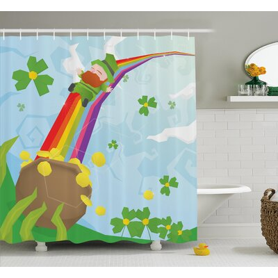 St. PatrickS Day Abstract Cartoon Happy Leprechaun Sliding Down Rainbow Gold and Shamrock Shower Curtain Size: 69 W x 70 H