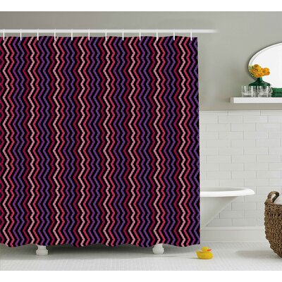 Shelley Modern Tile Like Striped Squared Zig Zag Details Qith Rainbow Colors Artistic Image Shower Curtain Size: 69 W x 70 H