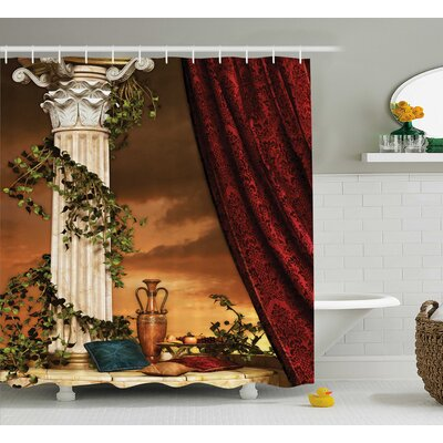 Greek Scene Climber Pillow Fruits Vine and Red Curtain Ancient Goddess Sunset Shower Curtain Size: 69 W x 70 H