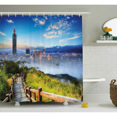 Alyson Scenery Beautiful Scenery of a City Cosmopolitan Life and Nature With Bridge Print Shower Curtain Size: 69 W x 70 H