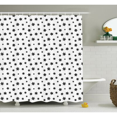 Deborah Starry Pattern With Little Big Stars Punk Grunge Style Modern For Teens Room Shower Curtain Size: 69 W x 84 H