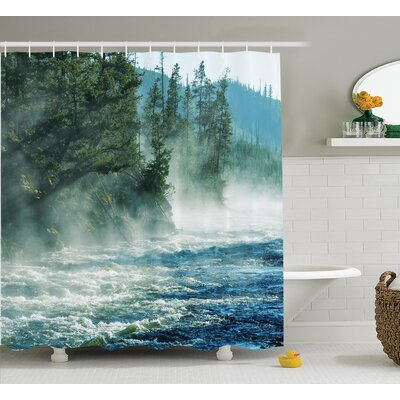 Gilbert Fog on River Alpine Trees By The Bank Wilderness Waterscape Picture Art Shower Curtain Size: 69 W x 70 H