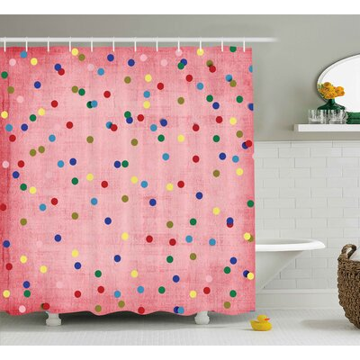 Valerie Retro Classic Spots Design With Circles Geometric Decor Pink Background Image Shower Curtain Size: 69 W x 70 H