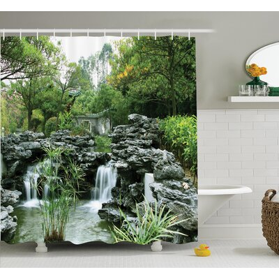 Ouezzane Japanese Asian Yard Little Lake Trees With Stones Autumn Season Natural Wilderness Shower Curtain Size: 69 W x 70 H