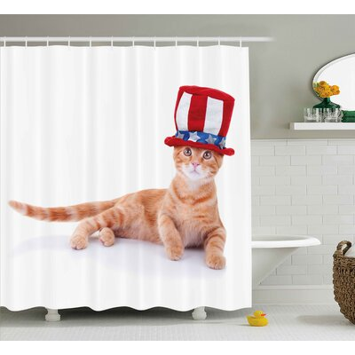 4th of July Statue of Liberty Icons Holding The Fire of Justice Liberty Graphic Shower Curtain Size: 69 W x 70 H