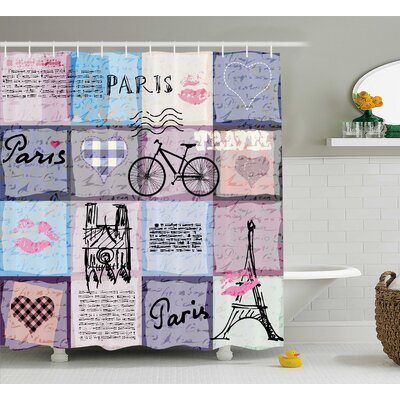Margret Grunge Retro Collage of Paris With Famous Object Eiffel Tower European Decor Shower Curtain Size: 69 W x 70 H
