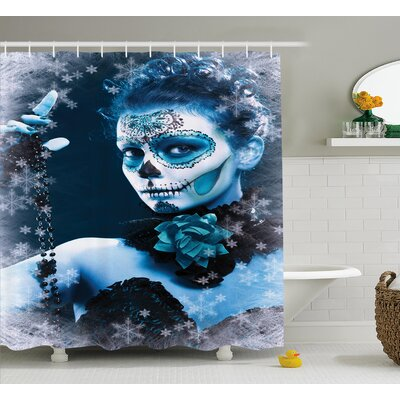 Christie Day of The Dead Mexican Festive Celebration Roses Snowflakes Dead Art Shower Curtain Size: 69 W x 70 H
