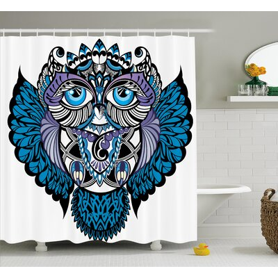 Cristina Tribal Owl Bird Animal With Paisley Tattoo Decor With Big Blue Eyes Lashes Shower Curtain Size: 69 W x 70 H