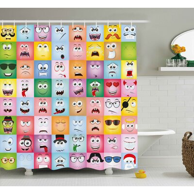Dianna Humor Set of Internet Cartoon Meme Funny Facial Gesture Emotion Icons Digital Illustration Shower Curtain Size: 69 W x 84 H