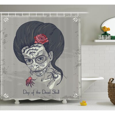 Ora Day of The Dead Dia De Los Muertos Skull Girl With Roses Image Print Shower Curtain Size: 69 W x 70 H
