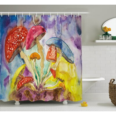 Petra Watercolor Style Mushrooms With Dreamy Grungy Artistic Print Enchanted Forest Theme Shower Curtain Size: 69 W x 70 H