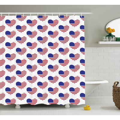 4th of July Retro Happy Independence Day Emblem Artsy Patriotic This Land Illustration Shower Curtain Size: 69 W x 70 H