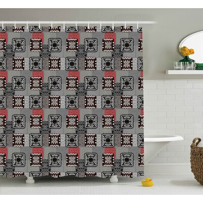 Reed Aztec Ornament Lace Folkloric Circle Shapes Square Forms Artwork Shower Curtain Size: 69 W x 70 H