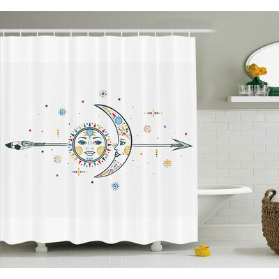 Keenan Ethnic Aztec Moon Sun With Spiral Vortex Stars Sparkle Figures Occult Image Shower Curtain Size: 69