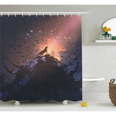 Fantasy World Howling Wolf on Rock Surround By Bats Birds Scary Dog Wild Life Animals Art Shower Curtain Size: 69 W x 70 H