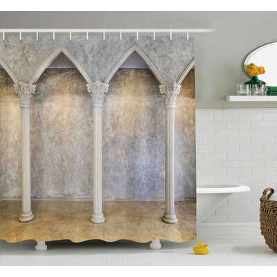 Kathy Antique Theme Classic Ancient Interior With Columns Digital Image Shower Curtain Size: 69 W x 75 H