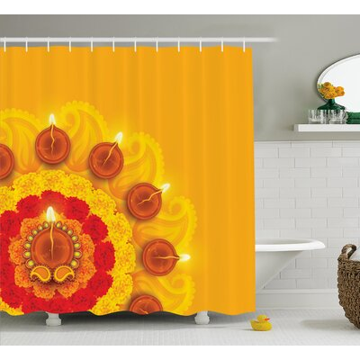 Donaldson Diwali Paisley Design With Flowers Diwali Religious Festive Burning Candles Print Shower Curtain Size: 69 W x 70 H