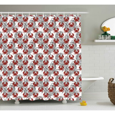 Buckler Crabs Sea Animals Theme Illustration of Crabs on White Background Pattern Print Shower Curtain Size: 69 W x 70 H