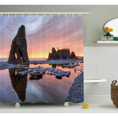 Dorthy Sunset Theme Sea Stacks and Driftwood At Ruby Beach Digital Image Shower Curtain Size: 69 W x 70 H