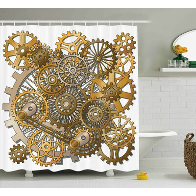 Dina Clock The Gears Shower Curtain Size: 69 W x 75 H