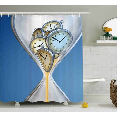Natalia Hourglass Time Clocks With Sand Decorations For Home a Vintage Design Shower Curtain Size: 69 W x 70 H