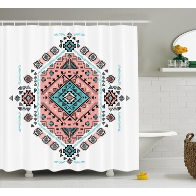 Lynne Tribal Mexican Native American Ethnic Symmetrical Four Corner Art Pattern Shower Curtain Size: 69 W x 70 H
