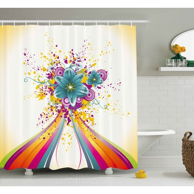 Essie Modern Rainbow Colored Image With Bold Lines and Flowers Buds Blossoms Ivy Artwork Shower Curtain Size: 69 W x 70 H