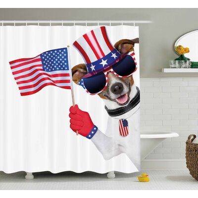 4th of July Famous Statue of Liberty Icon With Us Flag Traditional Monument Artsy Print Shower Curtain Size: 69 W x 70 H