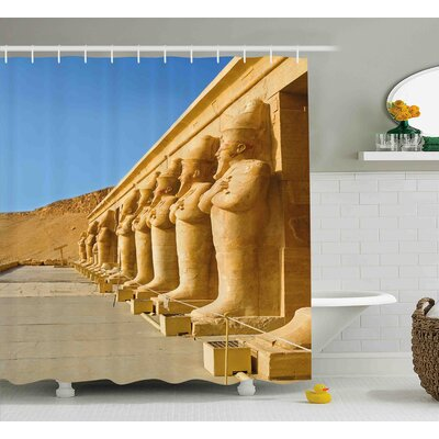 Cheryl Pillar The Facade of Hatshephut Temple Decorated With The Osirian Statues Print Shower Curtain Size: 69 W x 84 H