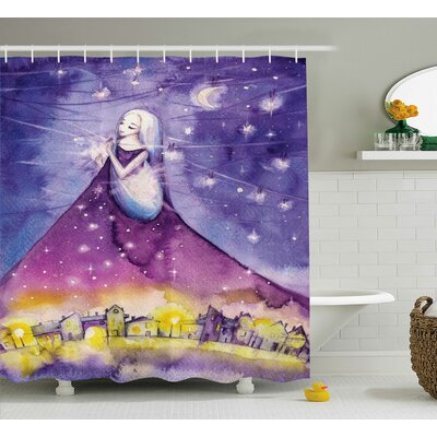Rhonda Fictional Lady Shower Curtain Size: 69 W x 75 H