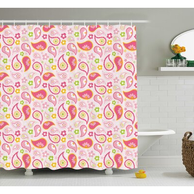 Lauren Paisley Leaf and Daisy Flower Spring Theme Girls Kids Room Nursery Decor Shower Curtain Size: 69 W x 70 H